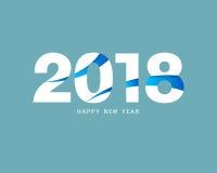 Het gelukkige nieuwe ontwerp van de jaar 2018 tekst Ontwerp voor groetkaart, invit Royalty-vrije Stock Afbeeldingen