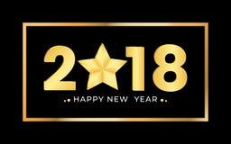 2018 het Gelukkige nieuwe ontwerp van jaar gouden aantallen Het feestelijke malplaatje van het premieontwerp voor de kaart van de royalty-vrije illustratie