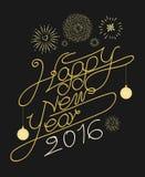 Het gelukkige nieuwe vectorontwerp van de jaartypografie Stock Fotografie