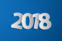 Het gelukkige Nieuwjaar 2018 concept met document cuted witte aantallen op blauwe achtergrond Royalty-vrije Stock Afbeeldingen