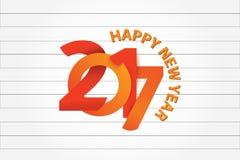 Het gelukkige Nieuwjaar 3d kijken in gestreepte document schets Royalty-vrije Stock Afbeeldingen