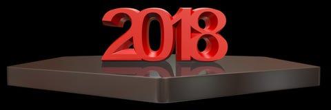 Het gelukkige Nieuwjaar 2018 3d teruggeven Stock Fotografie