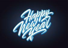 Het gelukkige Nieuwjaar expressieve vector van letters voorzien Royalty-vrije Stock Afbeeldingen