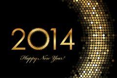2014 het Gelukkige Nieuwjaar 2014 gouden gloeien Royalty-vrije Stock Afbeeldingen