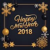 Het gelukkige Nieuwjaar 2018 hand geschreven van letters voorzien met gouden decoratieornament Stock Afbeeldingen