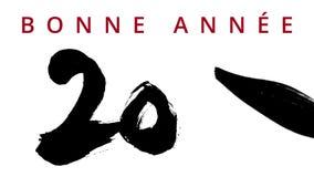 Het gelukkige Nieuwjaar 2016 in het Frans - het schrijven kalligrafie met een borstel Chinese inkt - stelde hoogst tegenover elka stock video