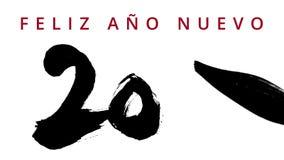 Het gelukkige Nieuwjaar 2016 in het Spaans - het schrijven kalligrafie met een borstel Chinese inkt - stelde hoogst tegenover elk stock video