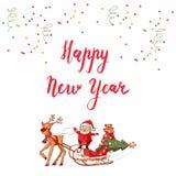 Het gelukkige Nieuwjaar Kalligrafische Van letters voorzien Royalty-vrije Stock Afbeeldingen