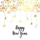 Het gelukkige Nieuwjaar Kalligrafische Van letters voorzien Stock Afbeelding