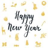 Het gelukkige Nieuwjaar Kalligrafische Van letters voorzien Nieuwe jaarpictogrammen de Kerstman, Kerstmisboom Royalty-vrije Stock Fotografie