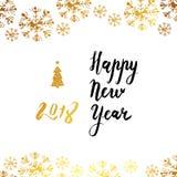 Het gelukkige Nieuwjaar Kalligrafische Van letters voorzien Vector illustratie Royalty-vrije Stock Fotografie