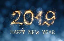 Het Gelukkige Nieuwjaar 2019 van de groetkaart Stock Afbeeldingen