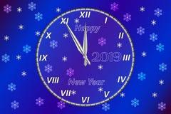 Het Gelukkige Nieuwjaar van de groetkaart Het bevat een horloge met een gelukwens op de achtergrond van een Nieuwjaar` s Vooravon royalty-vrije illustratie