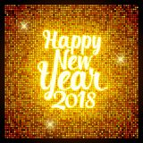 Het Gelukkige Nieuwjaar 2018 van de groetkaart Retro stijl voor Gelukkig Nieuw Stem vóór royalty-vrije illustratie