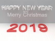 Het Gelukkige Nieuwjaar 2019 van de vakantiekaart met koekjes op een witte backgro royalty-vrije stock afbeeldingen