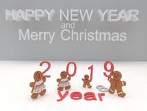 Het Gelukkige Nieuwjaar 2019 van de vakantiekaart met koekjes op een witte backgro stock afbeeldingen