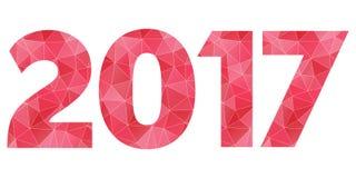 Het gelukkige Nieuwjaar 2017 vector rode en roze veelhoekige symbool isoleert Stock Foto's