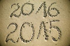 Het gelukkige Nieuwjaar 2016 vervangt 2015 Stock Afbeeldingen