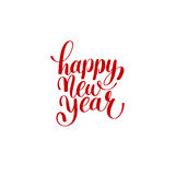 Het gelukkige Nieuwjaarhand van letters voorzien wenst rode inschrijving geluk Royalty-vrije Stock Foto