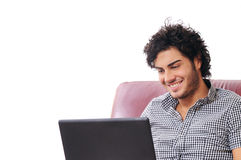 Het gelukkige online winkelen Royalty-vrije Stock Foto