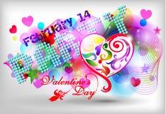 Het gelukkige ontwerp van de de dagkaart van Valentijnskaarten 14 Februari I Royalty-vrije Stock Fotografie