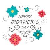 Het gelukkige Ontwerp van de de Groetkaart van de Moeder` s Dag Stock Foto