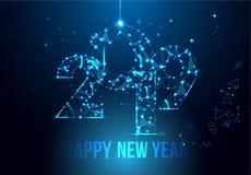 Het gelukkige ontwerp van de Nieuwjaar 2019 banner De geometrische veelhoekige kaart van de 2019 Nieuwjaargroet Vector vuurwerkac vector illustratie