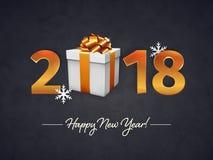 2018 het Gelukkige ontwerp van de Nieuwjaar gouden 3D tekst met een giftvakje met de gouden boog en lint op de donkere Kerstmisac Stock Afbeelding