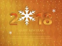 2018 het Gelukkige ontwerp van de Nieuwjaar gouden 3d tekst met sneeuwvlokken op de gouden elegante luxe geometrische achtergrond Royalty-vrije Stock Foto's