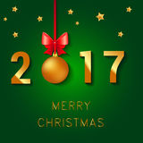 Het gelukkige ontwerp van de Nieuwjaar 2017 tekst Vectorgroetillustratie met de boog en de sterren van Kerstmisballen Stock Foto
