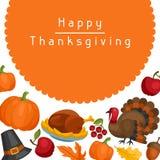 Het gelukkige ontwerp van de Thanksgiving daykaart met vakantie Stock Fotografie