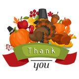 Het gelukkige ontwerp van de Thanksgiving daykaart met vakantie Stock Foto's