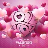 Het gelukkige Ontwerp van de Valentijnskaartendag met Rood en Wit Hart en houdt van u Typografiebrief op Glanzende Roze Achtergro Royalty-vrije Stock Fotografie
