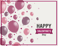 Het gelukkige Ontwerp van de Valentijnskaartendag met Rose Balloons Stock Afbeeldingen