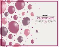 Het gelukkige Ontwerp van de Valentijnskaartendag met Rose Balloons Royalty-vrije Stock Foto
