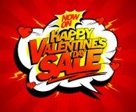 Het gelukkige ontwerp van de de verkoopbanner van de Valentijnskaartendag Royalty-vrije Stock Afbeeldingen