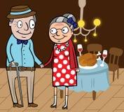 Het gelukkige oude paar viert thanksgiving day Royalty-vrije Stock Afbeelding