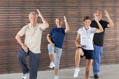 Het gelukkige oudsten doen aëroob in gymnastiek royalty-vrije stock fotografie