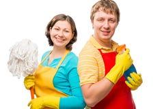 Het gelukkige paar is bereid schoon te maken Royalty-vrije Stock Afbeeldingen