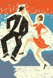 Het gelukkige paar dansen Stock Afbeelding