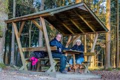 Het gelukkige paar die bij een holdingshanden van de picknicklijst en uw hond rusten speelt stock afbeelding