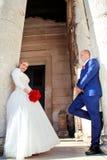 Het gelukkige paar van de huwelijksdag Stock Afbeeldingen