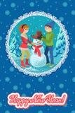 Het gelukkige paar van jongeren beeldhouwt sneeuwman Vector de gelukwens nieuw jaar van de illustratiekaart royalty-vrije illustratie