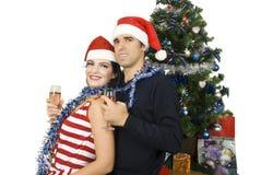 Het gelukkige paar van Kerstmis Stock Afbeeldingen