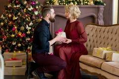 Het gelukkige paar van minnaars geeft elkaar giften Stock Fotografie