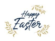 Het gelukkige Pasen-kalligrafie van letters voorzien en gouden boomtakken vector illustratie