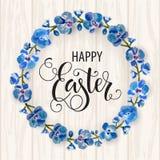 Het gelukkige Pasen-van letters voorzien, geschilderde kleurrijke eieren De lentevakantie, Pasen-achtergrond, bloesemboom vector illustratie