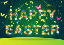 Het gelukkige Pasen van letters voorzien op groene achtergrond Royalty-vrije Stock Foto