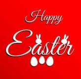 Het gelukkige Pasen-van letters voorzien op rode achtergrond Stock Foto's