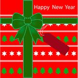 Het gelukkige patroon Nieuwjaar van de achtergrondgiftdoos Royalty-vrije Stock Foto